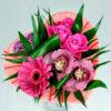 9000тг;3 розы, 2 орхидеи, 1 гербера, зелень, каркас